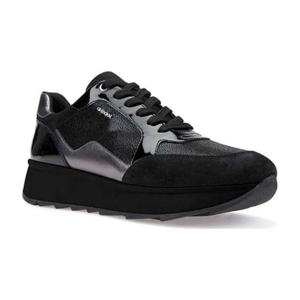 009494e137ec9 Sneakersy w kolorze czarnym - Czarne obuwie sportowe damskie marki Geox,  Pepe Jeans, z materiału, z okrągłym noskiem, na sznurówki.
