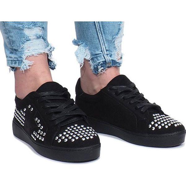 Czarne Sneakersy na Wysokiej Platformie Holo Wilady