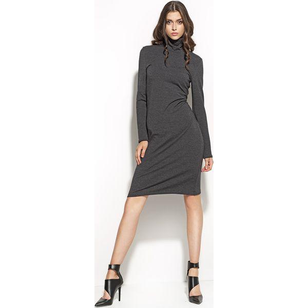 1393ca283c Uniwersalna Grafitowa Sukienka z Golfem - Sukienki damskie marki ...