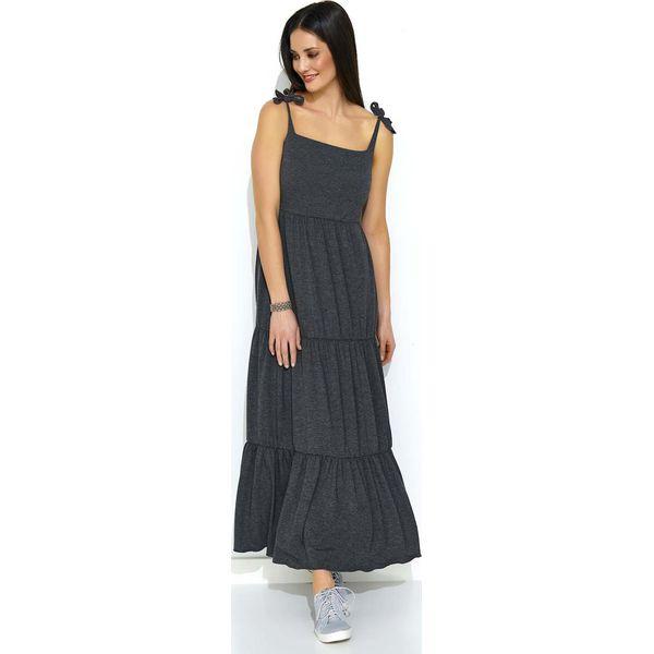 fbc85bb8574264 Grafitowa Maxi Sukienka z Falbankami na Ramiączkach - Szare sukienki ...