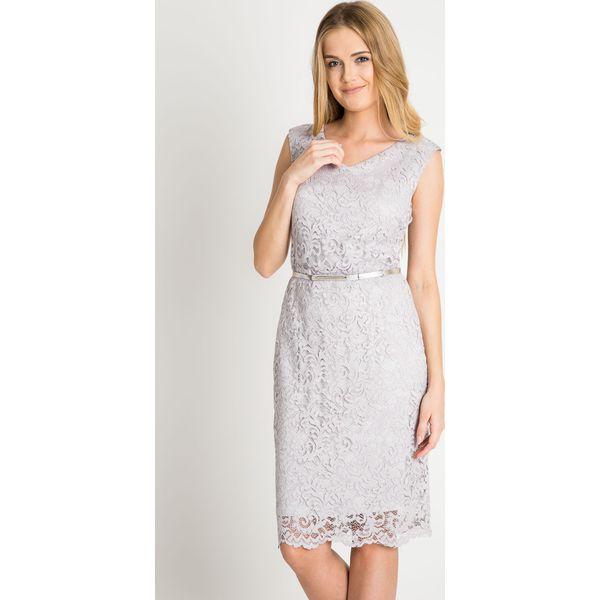bd25358754 Szara koronkowa sukienka z paskiem QUIOSQUE - Sukienki damskie marki ...