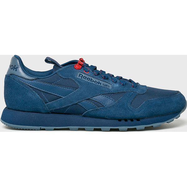 e8776912b55f15 Reebok Classic - Buty Cl Leather Mu - Niebieskie buty sportowe męskie Reebok  Classic, bez wzorów, z gumy, bez zapięcia, Reebok Classic.