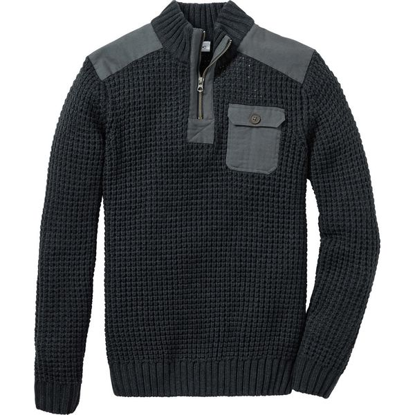 ca3241e52e17 Sweter ze stójką Slim Fit bonprix antracytowy melanż - Swetry męskie ...