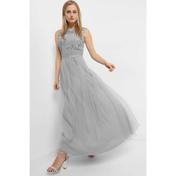9fa60356ca Tiulowa sukienka maxi z haftem - Szare sukienki damskie marki Orsay ...