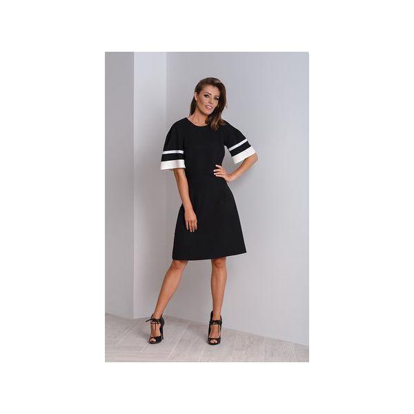 af810058f02a Elegancka czarna sukienka wizytowa z bufiastymi rękawami MAYA ...