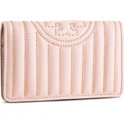 f7dd53016edf54 Duży Portfel Damski TORY BURCH - Fleming Mini Stud Slim Medium Wallet 52409  Shell Pink 652