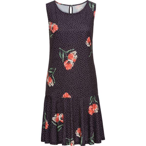 721a546622 Sukienka z dżerseju z falbaną bonprix czarny w kwiaty - Sukienki ...