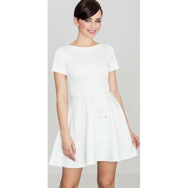 0c93052482 Biała Rozkloszowana Sukienka z Krótkim Rękawem - Białe sukienki ...