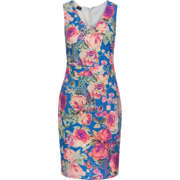 f55daf0d53 Sukienka neoprenowa w kwiaty bonprix błękit królewski w kwiaty ...