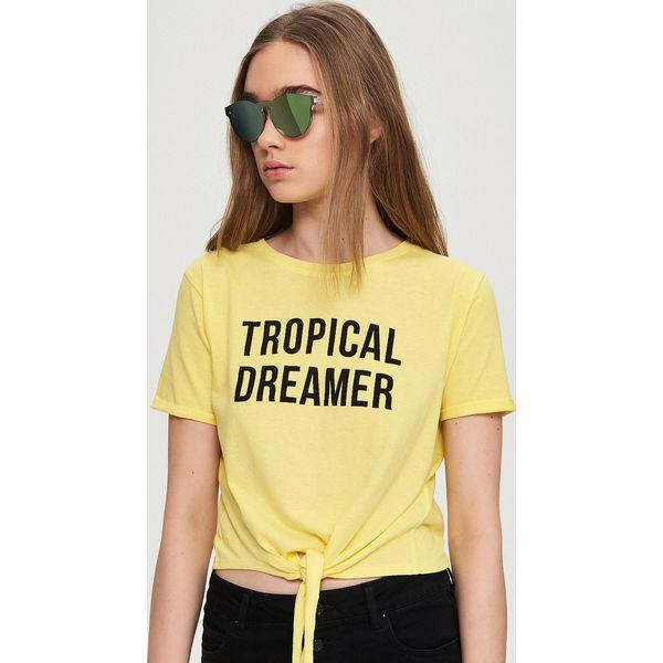 2295add8d T-shirt z wiązaniem - Żółty - Sklep Radio ZET