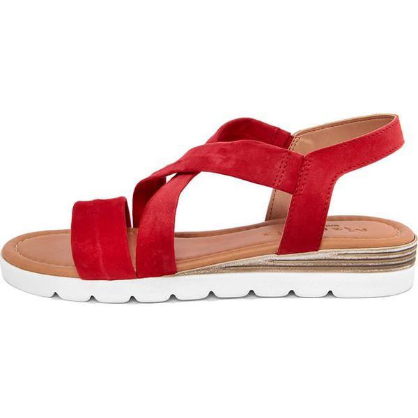 3baab4fa4 Skórzane sandały w kolorze czerwono-złotym - Sandały damskie marki ...