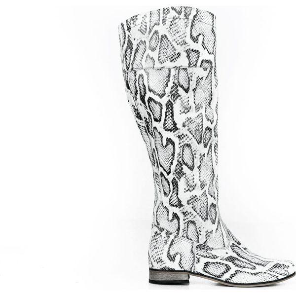 wężowe kozaki za kolano skóra naturalna model 185 kolor biały wąż