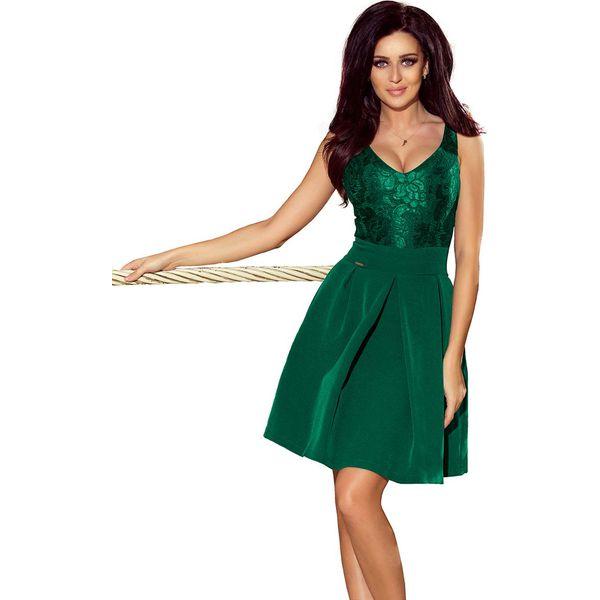99bf209cbd Zielona Koktajlowa Rozkloszowana Sukienka z Koronką - Sukienki ...