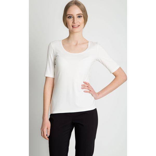 202971674b Bluzka z okrągłym dekoltem w kolorze ecru BIALCON - Szare bluzki damskie  marki BIALCON