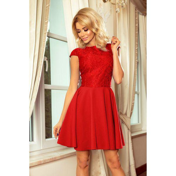 03822717a1 Sukienka rozkloszowana z koronką sf-157 - Czerwone sukienki damskie ...