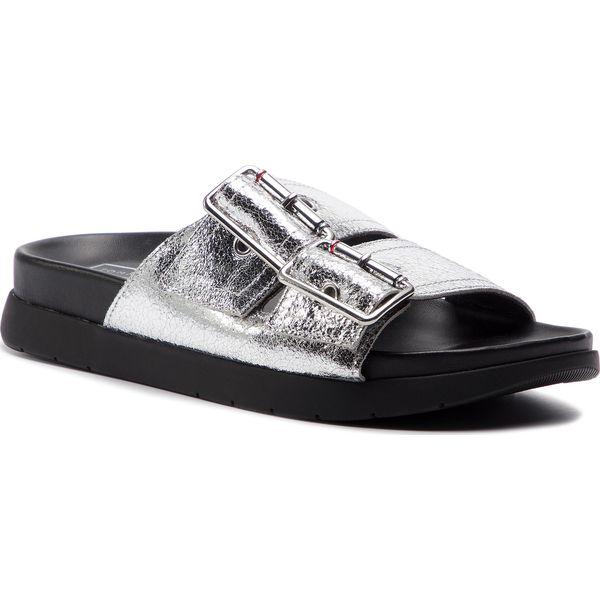 b3f854263 Klapki TOMMY HILFIGER - Crackle Metallic Footbed Sandal FW0FW03805 ...