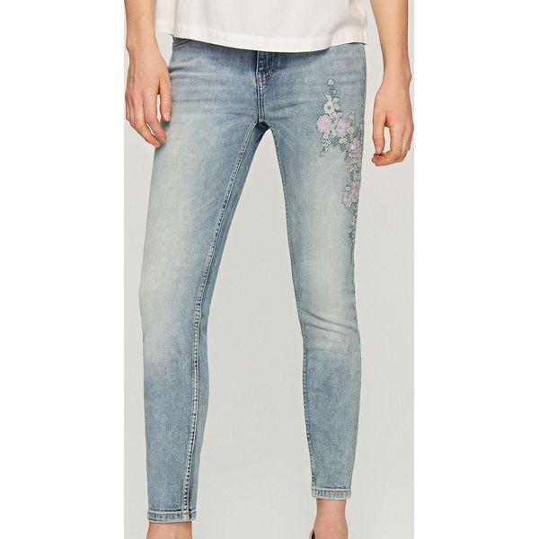 Masywnie Jeansy z wyhaftowanymi kwiatami - Niebieski - Jeansy damskie marki EV34