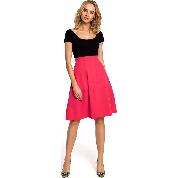 bdfc3917 Różowa Spódnica Trapezowa przed Kolano z Podwyższonym Stanem