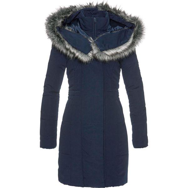 2de9df0dfc356 Płaszcz ze sztucznym futerkiem bonprix ciemnoniebieski - Płaszcze ...