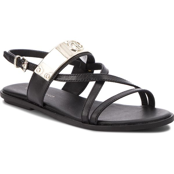 ec842736e8b45 Sandały TOMMY HILFIGER - Flat Sandal With Th Bar FW0FW02237 Black ...