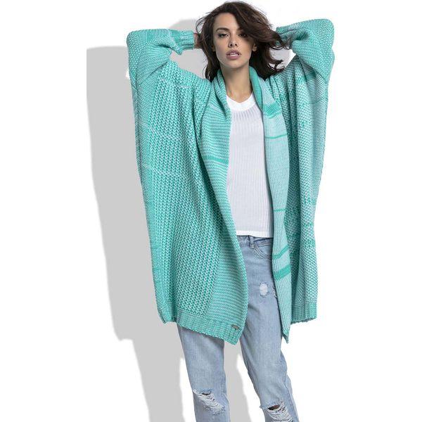 b1c08e83 Zielony Długi Ażurowy Kardigan z Kolorowymi Paskami