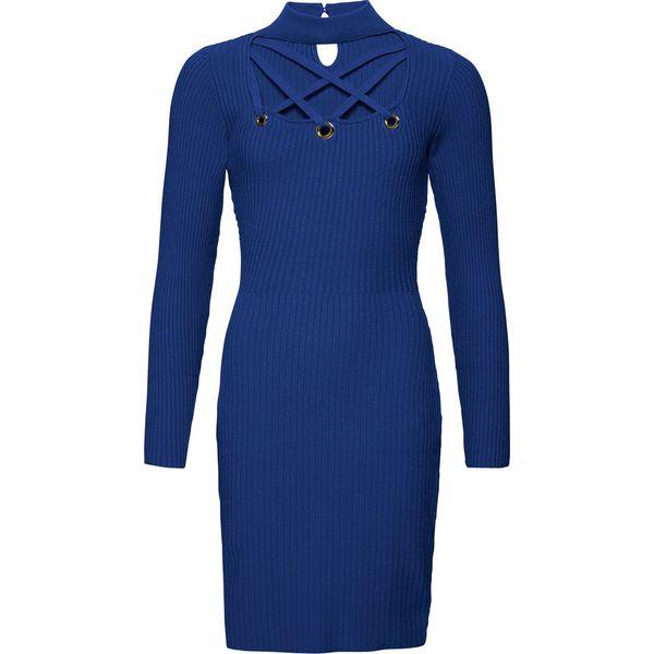 9ac5054922 Sukienka dzianinowa z wycięciami bonprix kobaltowy - Niebieskie ...