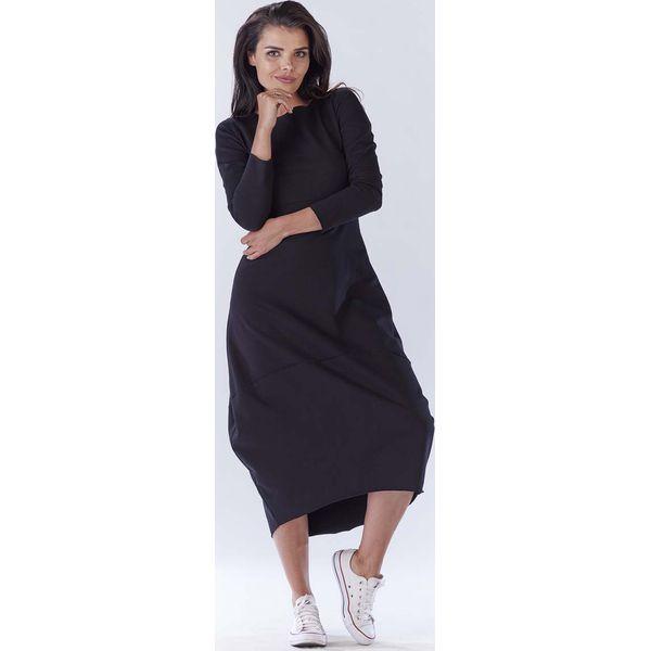 1418ec4935 Czarna Długa Sportowa Sukienka Bombka - Sukienki damskie marki Molly ...