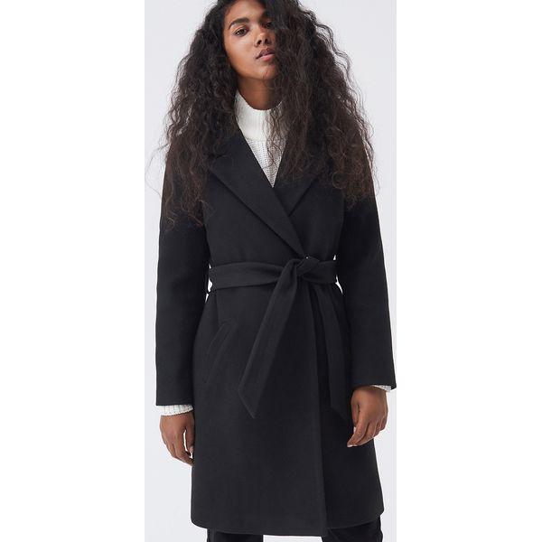 Długi płaszcz z wiązanym paskiem Czarny