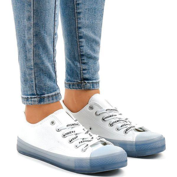 Białe trampki z niebieską podeszwą LTD205 1