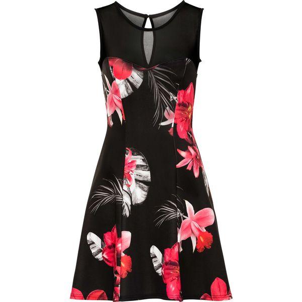 b923655285 Sukienka z kwiatowym nadrukiem bonprix czarno-różowy - Czarne ...