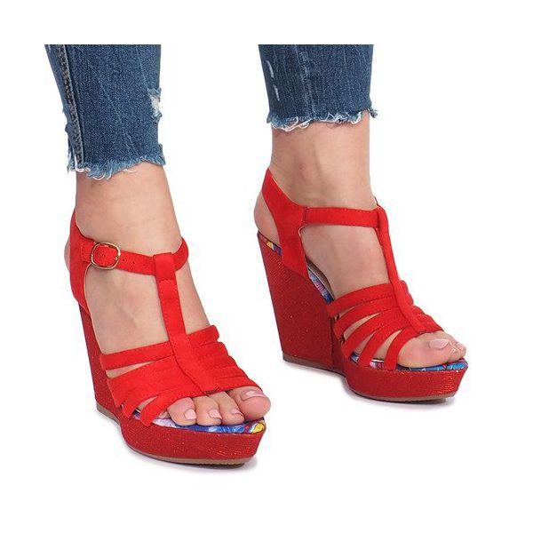 Czerwone sandały na koturnie Ankard