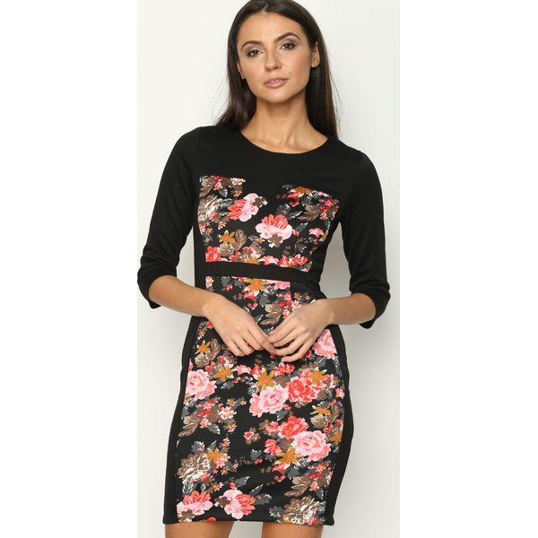 9170d85d33 Różowo-Khaki Sukienka Multi Flowers - Brązowe sukienki damskie marki ...