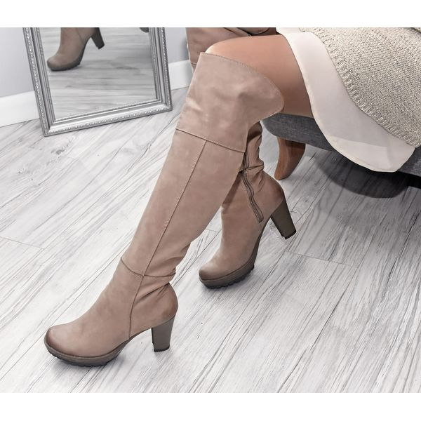 kozaki za kolano skóra naturalna model 185 kolor cappuccino
