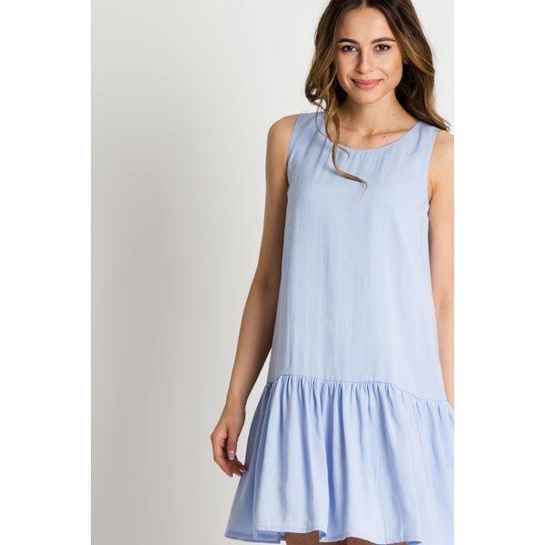 3c7851a369 Błękitna sukienka z falbaną u dołu BIALCON - Sukienki damskie marki ...