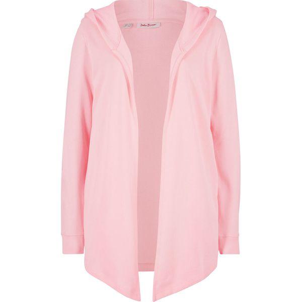 Bluza rozpinana z kapturem bonprix pastelowy jasnoróżowy