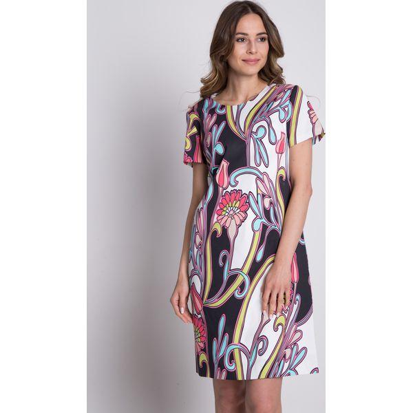 34ea98d92f Trapezowa sukienka we wzory z krótkim rękawem BIALCON - Szare ...