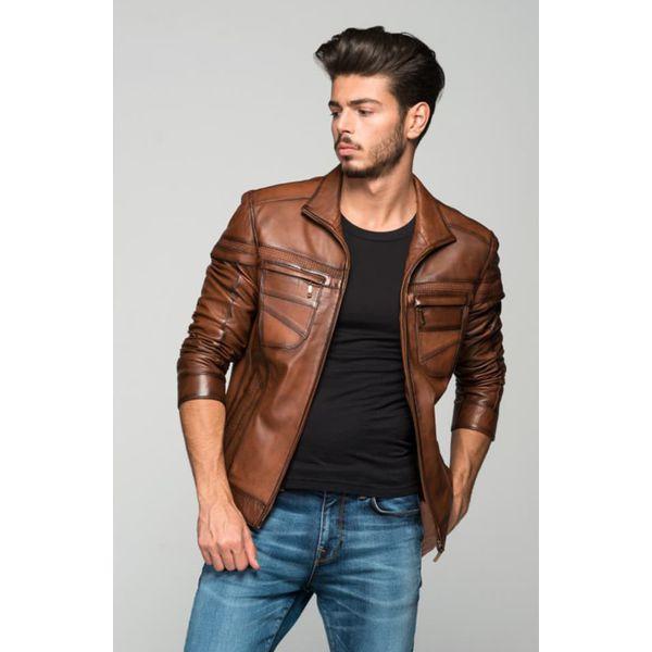 d9c965a37695c6 Skórzana kurtka w kolorze brązowym - Brązowe kurtki męskie ...