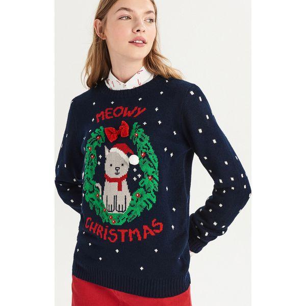 396df5123594 Świąteczny sweter z kokardką - Granatowy - Swetry nierozpinane ...