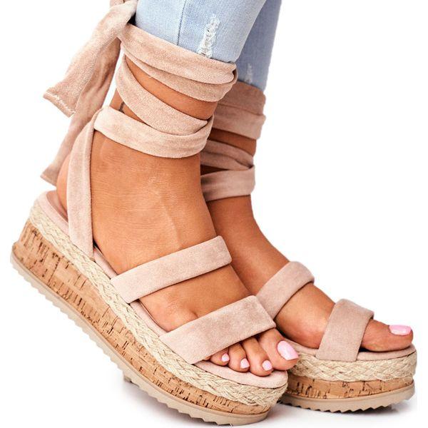 HAN Sandały Damskie Na Platformie Wiązane Beżowe La Favorite brązowe