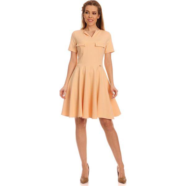 5460b23502e0 Morelowa Kobieca Sukienka z Szerokim Dołem - Pomarańczowe sukienki ...