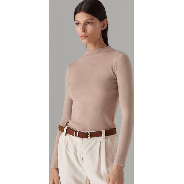 93cff84c Dopasowany sweter z półgolfem - Beżowy