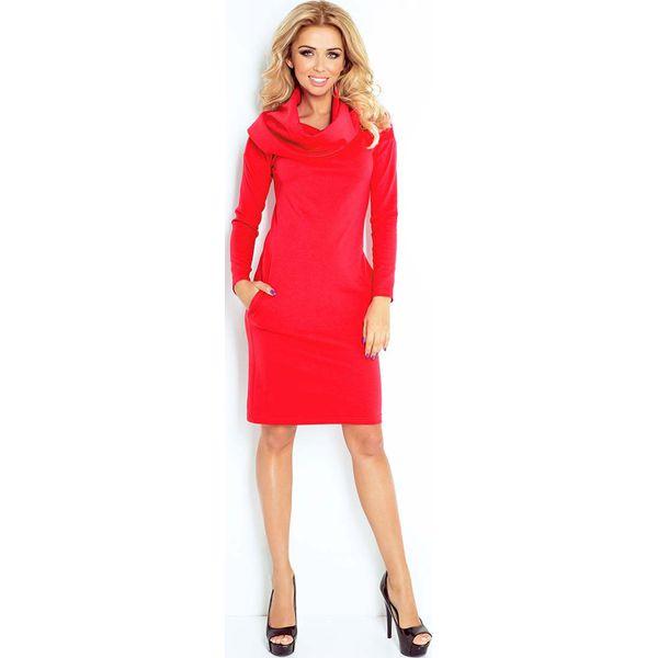 fbb7100e48 Czerwona Sukienka Dopasowana z Obfitym Golfem - Czerwone sukienki ...