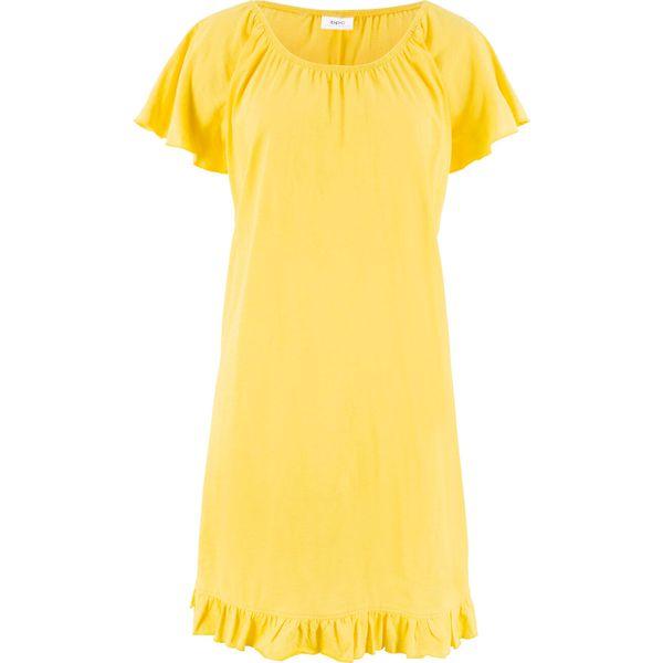 f59ec83bd1 Sukienka z dżerseju z falbaną bonprix żółty ananasowy - Sukienki ...