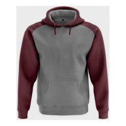 Męska bluza dwukolorowa (bez nadruku, gładka) burgundowa