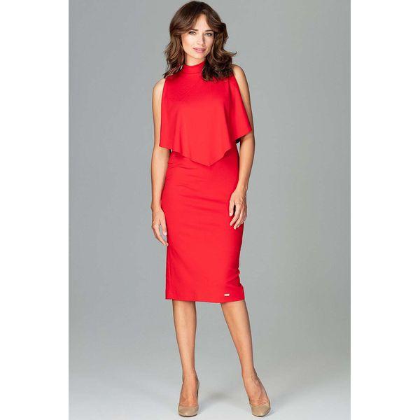 9d6453650bb449 Czerwona Wizytowa Dopasowana Sukienka Midi z Peleryną - Czerwone ...