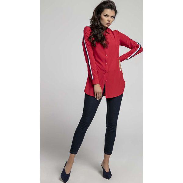 26da5463e5f671 Czerwona Długa Koszula z Lampasem na Rękawie - Koszule damskie Molly ...