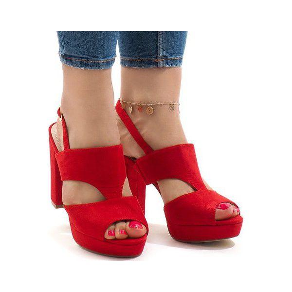 Czerwone sandały na słupku JS 8001