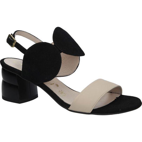 czarne sandały skórzane na ozdobnym obcasie oleksy 2292147
