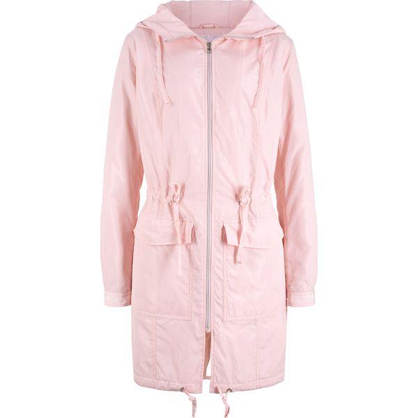 Lekki płaszcz outdoorowy z kapturem bonprix pastelowy jasnoróżowy, kolor różowy