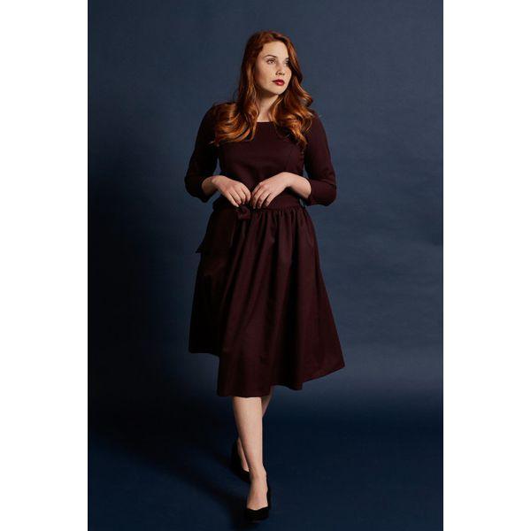 4924ce4260 Sukienka Melia bordowa – wełna Loro Piana 32 bordo - Czerwone ...
